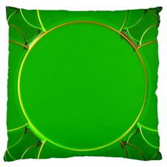 Green Circle Fractal Frame Large Flano Cushion Case (Two Sides)