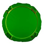 Green Circle Fractal Frame Large 18  Premium Flano Round Cushions Back