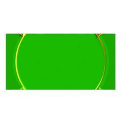 Green Circle Fractal Frame Satin Shawl