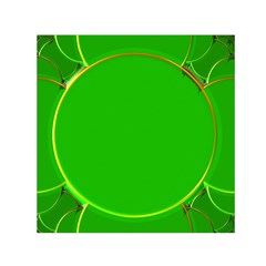 Green Circle Fractal Frame Small Satin Scarf (Square)