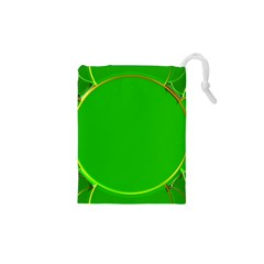 Green Circle Fractal Frame Drawstring Pouches (xs)