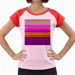 Stripes Colorful Background Colorful Pink Red Purple Green Yellow Striped Wallpaper Women s Cap Sleeve T Shirt