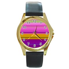 Stripes Colorful Background Colorful Pink Red Purple Green Yellow Striped Wallpaper Round Gold Metal Watch
