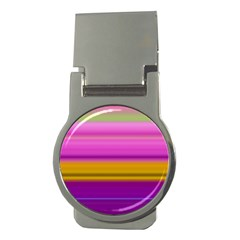 Stripes Colorful Background Colorful Pink Red Purple Green Yellow Striped Wallpaper Money Clips (round)