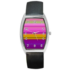 Stripes Colorful Background Colorful Pink Red Purple Green Yellow Striped Wallpaper Barrel Style Metal Watch