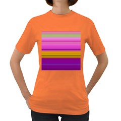 Stripes Colorful Background Colorful Pink Red Purple Green Yellow Striped Wallpaper Women s Dark T-Shirt