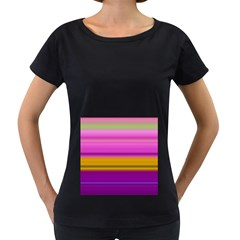 Stripes Colorful Background Colorful Pink Red Purple Green Yellow Striped Wallpaper Women s Loose-Fit T-Shirt (Black)
