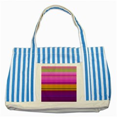 Stripes Colorful Background Colorful Pink Red Purple Green Yellow Striped Wallpaper Striped Blue Tote Bag