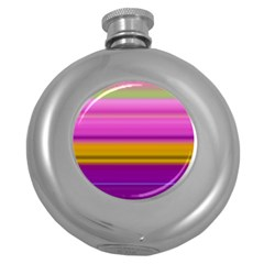 Stripes Colorful Background Colorful Pink Red Purple Green Yellow Striped Wallpaper Round Hip Flask (5 Oz)