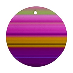 Stripes Colorful Background Colorful Pink Red Purple Green Yellow Striped Wallpaper Round Ornament (Two Sides)