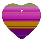 Stripes Colorful Background Colorful Pink Red Purple Green Yellow Striped Wallpaper Heart Ornament (Two Sides) Back