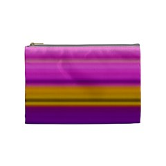Stripes Colorful Background Colorful Pink Red Purple Green Yellow Striped Wallpaper Cosmetic Bag (Medium)