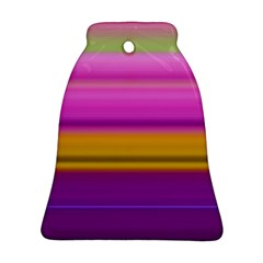Stripes Colorful Background Colorful Pink Red Purple Green Yellow Striped Wallpaper Bell Ornament (two Sides)