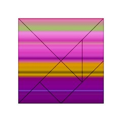 Stripes Colorful Background Colorful Pink Red Purple Green Yellow Striped Wallpaper Acrylic Tangram Puzzle (4  x 4 )