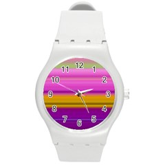 Stripes Colorful Background Colorful Pink Red Purple Green Yellow Striped Wallpaper Round Plastic Sport Watch (M)