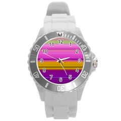 Stripes Colorful Background Colorful Pink Red Purple Green Yellow Striped Wallpaper Round Plastic Sport Watch (L)