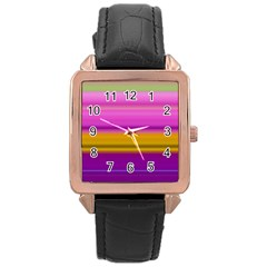 Stripes Colorful Background Colorful Pink Red Purple Green Yellow Striped Wallpaper Rose Gold Leather Watch