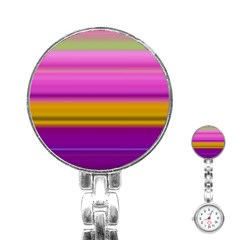 Stripes Colorful Background Colorful Pink Red Purple Green Yellow Striped Wallpaper Stainless Steel Nurses Watch