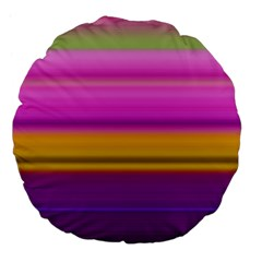 Stripes Colorful Background Colorful Pink Red Purple Green Yellow Striped Wallpaper Large 18  Premium Flano Round Cushions