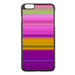 Stripes Colorful Background Colorful Pink Red Purple Green Yellow Striped Wallpaper Apple iPhone 6 Plus/6S Plus Black Enamel Case