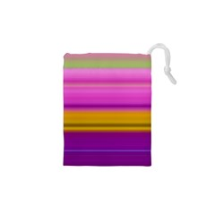 Stripes Colorful Background Colorful Pink Red Purple Green Yellow Striped Wallpaper Drawstring Pouches (XS)
