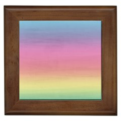 Watercolor Paper Rainbow Colors Framed Tiles