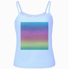 Watercolor Paper Rainbow Colors Baby Blue Spaghetti Tank