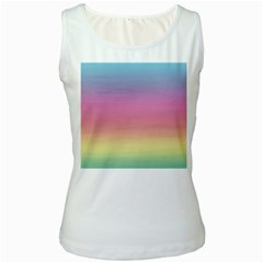 Watercolor Paper Rainbow Colors Women s White Tank Top
