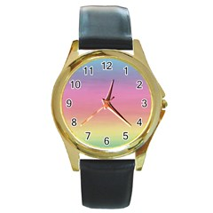 Watercolor Paper Rainbow Colors Round Gold Metal Watch
