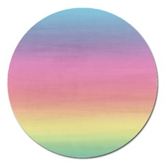 Watercolor Paper Rainbow Colors Magnet 5  (round)
