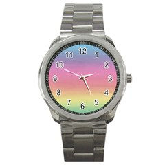 Watercolor Paper Rainbow Colors Sport Metal Watch