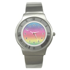 Watercolor Paper Rainbow Colors Stainless Steel Watch