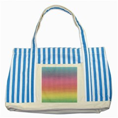 Watercolor Paper Rainbow Colors Striped Blue Tote Bag