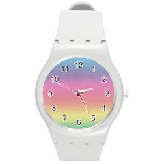 Watercolor Paper Rainbow Colors Round Plastic Sport Watch (M)