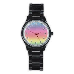 Watercolor Paper Rainbow Colors Stainless Steel Round Watch