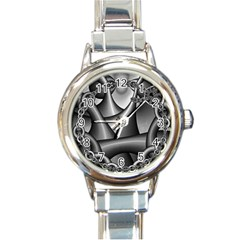 Grey Fractal Background With Chains Round Italian Charm Watch
