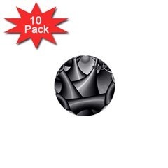 Grey Fractal Background With Chains 1  Mini Buttons (10 Pack)
