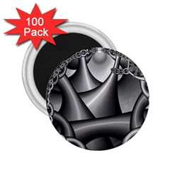 Grey Fractal Background With Chains 2 25  Magnets (100 Pack)