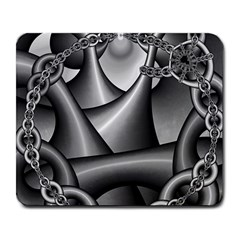 Grey Fractal Background With Chains Large Mousepads