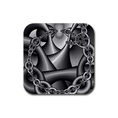 Grey Fractal Background With Chains Rubber Square Coaster (4 Pack)