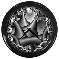Grey Fractal Background With Chains Wall Clocks (Black)