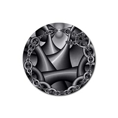 Grey Fractal Background With Chains Rubber Coaster (Round)