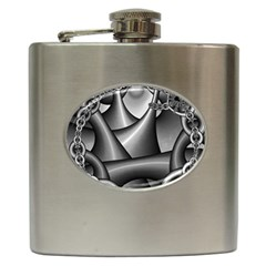 Grey Fractal Background With Chains Hip Flask (6 oz)