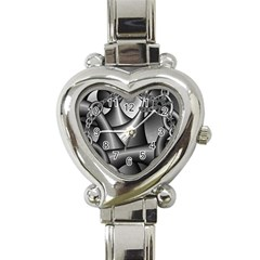 Grey Fractal Background With Chains Heart Italian Charm Watch