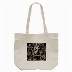 Grey Fractal Background With Chains Tote Bag (Cream)