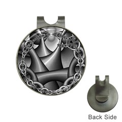 Grey Fractal Background With Chains Hat Clips With Golf Markers