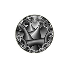 Grey Fractal Background With Chains Hat Clip Ball Marker (4 pack)