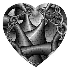 Grey Fractal Background With Chains Jigsaw Puzzle (Heart)