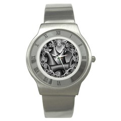 Grey Fractal Background With Chains Stainless Steel Watch