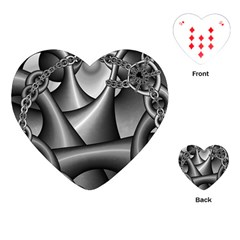 Grey Fractal Background With Chains Playing Cards (Heart)
